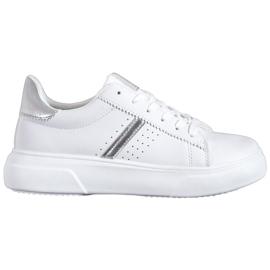 Renda Sneakersy Ze Srebrnymi Wstawkami białe