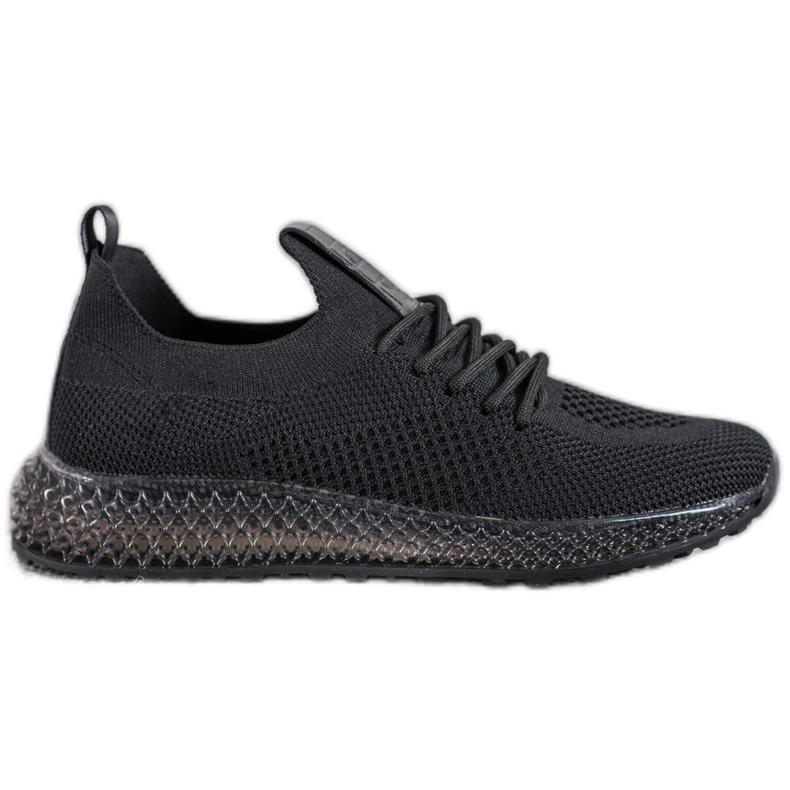 SHELOVET Sneakersy Z Transparentną Podeszwą czarne