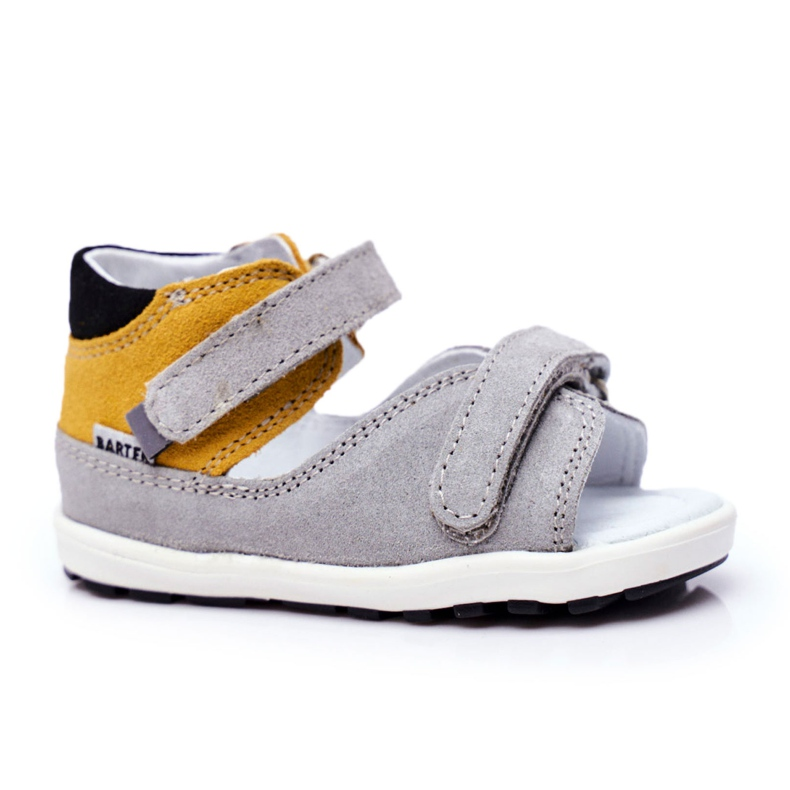 Bartek S.A. Dziecięce Sandałki Profilaktyczne Mini First Steps Bartek W-71266 szare żółte