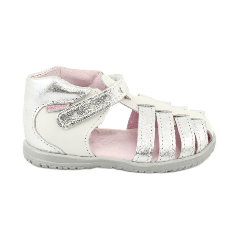Sandałki skórzane Mazurek 245 białe szare
