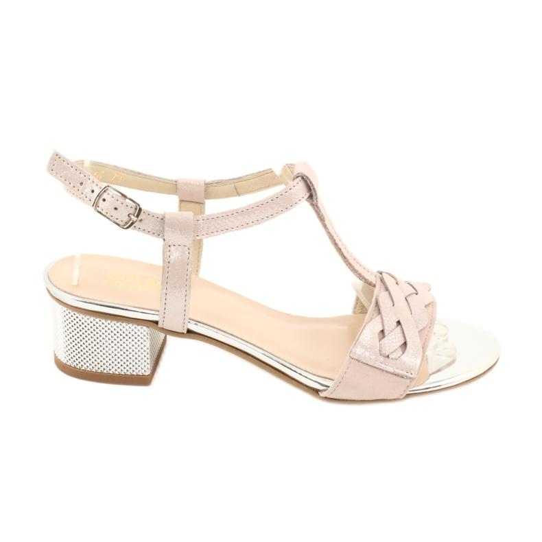 Sandały damskie Gamis 3936 róż/srebrny różowe szare