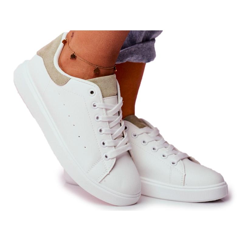SEA Sportowe Damskie Buty Białe z Zielonym Zapiętkiem Milly