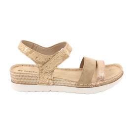 Sandały z wkładką skórzaną Inblu Platino OF019 beżowy złoty