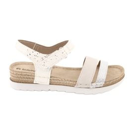 Sandały z wkładką skórzaną Inblu Argento OF019 białe szare