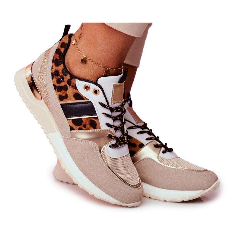 Sportowe Damskie Buty Beżowe Leopard Himme beżowy