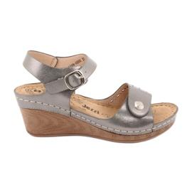Sandały damskie koturn Evento 9SD98-0980 grey szare