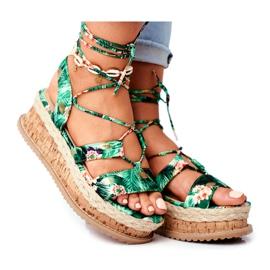 FB2 Damskie Sandały Na Korkowej Platformie Wiązane Zielone My Way wielokolorowe