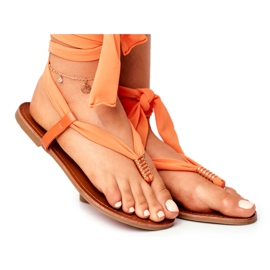 FS1 Sandałki Damskie Japonki Wiązane Pomarańczowe Derryl