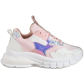 Mannika Modne Sneakersy Z Siateczką różowe