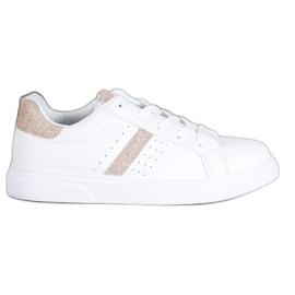 SHELOVET Buty Sportowe Z Brokatem białe