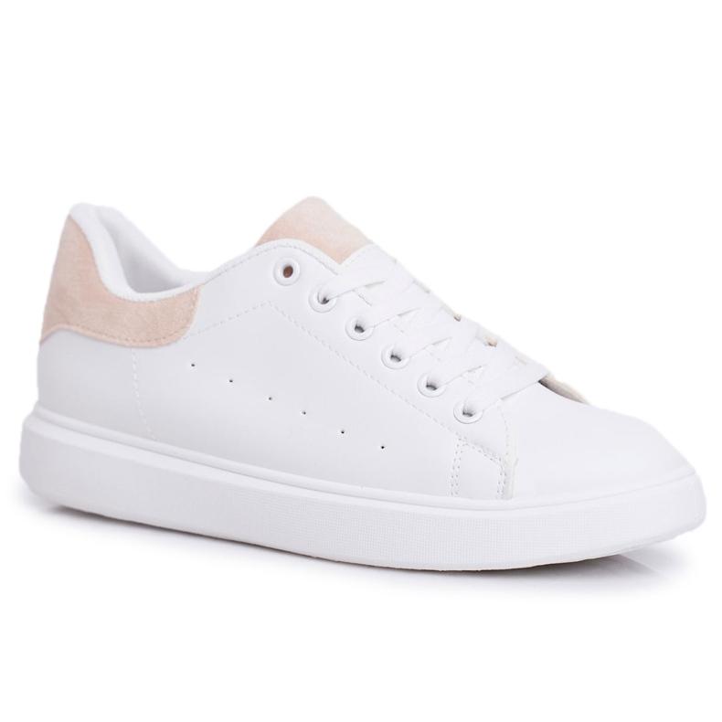 SEA Sportowe Damskie Buty Białe z Beżowym Zapiętkiem Milly