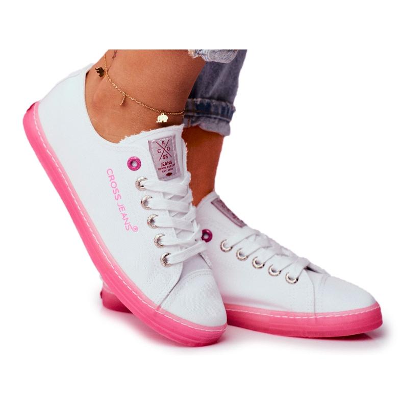 Trampki Damskie Cross Jeans Biało Różowe FF2R4075C