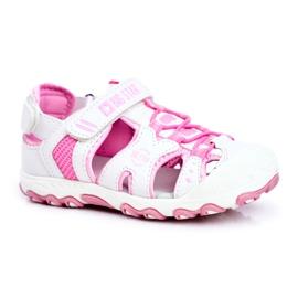 Sandałki Dziecięce Big Star Na Rzepy Białe FF374207 różowe