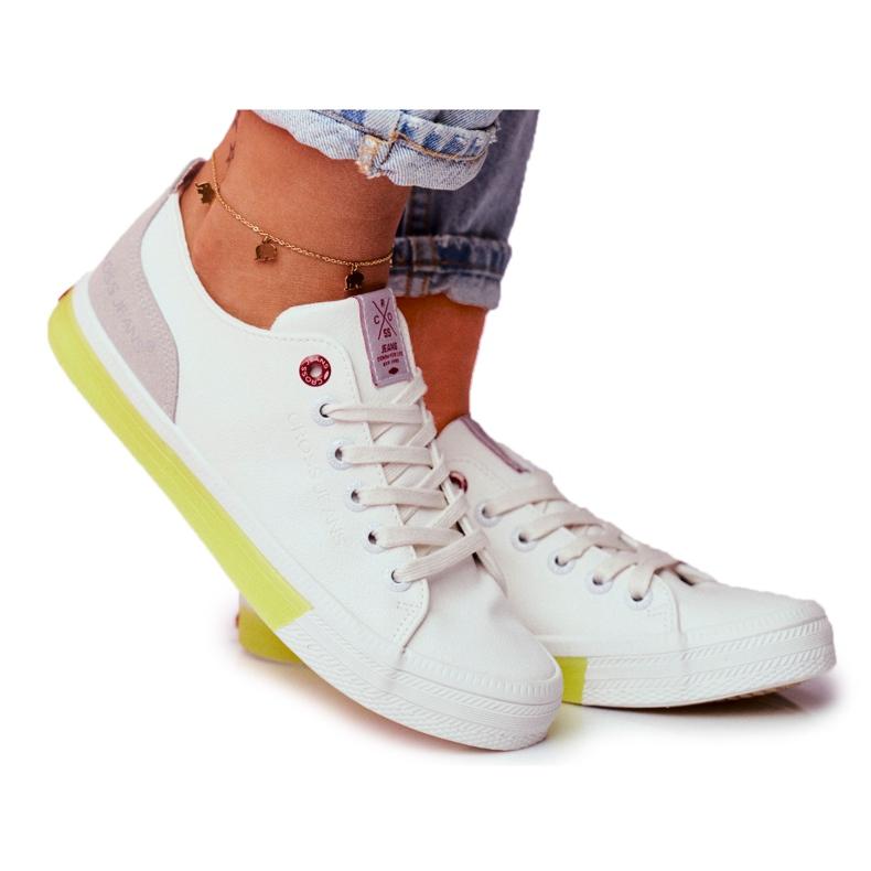 Trampki Damskie Cross Jeans Biało Żółte FF2R4042C białe