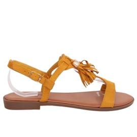Sandałki damskie miodowe 222-30 Yellow żółte
