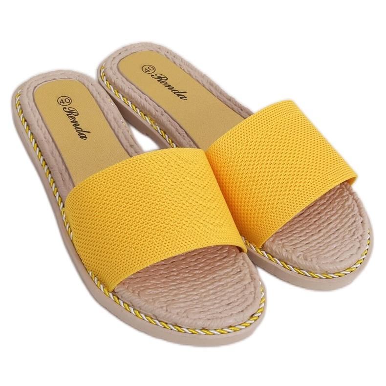 Klapki damskie miodowe 35-185 Yellow żółte