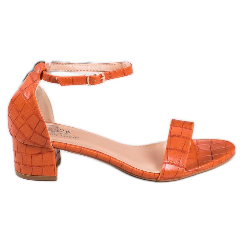 Small Swan Komfortowe Sandalki Na Niskim Słupku pomarańczowe