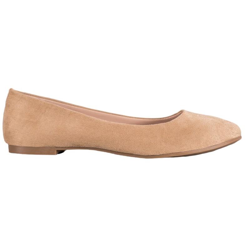 Best Shoes Zamszowe Baleriny brązowe