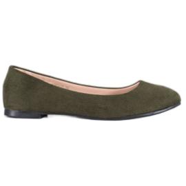 Best Shoes Zamszowe Baleriny zielone
