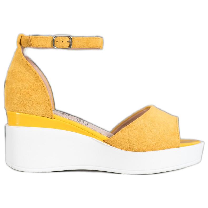 Weide Zamszowe Sandały Na Białej Koturnie żółte