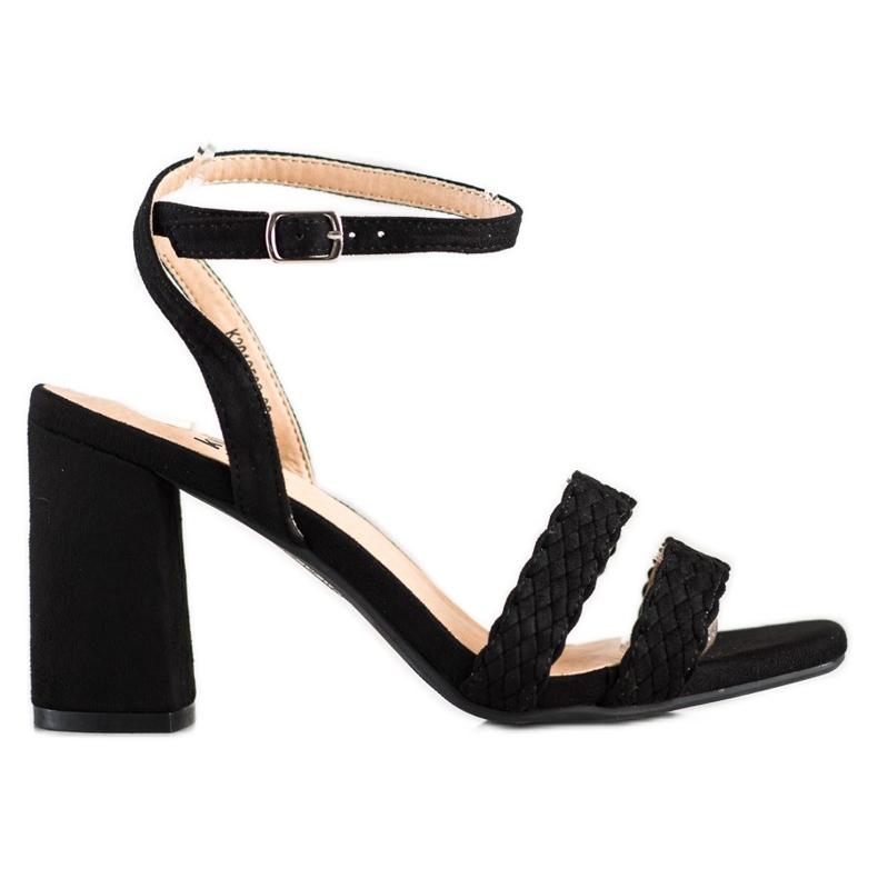 Kylie Zamszowe Sandałki Na Słupku czarne