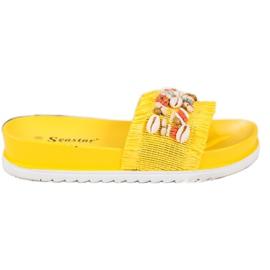 Seastar Żółte Klapki Z Muszelkami