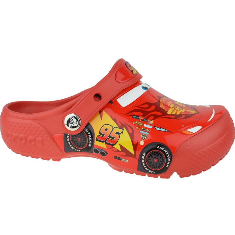 Klapki Crocs Fun Lab Cars Clog Jr 204116-8C1 czerwone szare