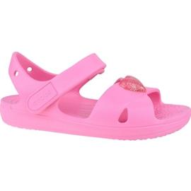 Sandały Crocs Classic Cross-Strap Sandal K 206245-669 czarne różowe