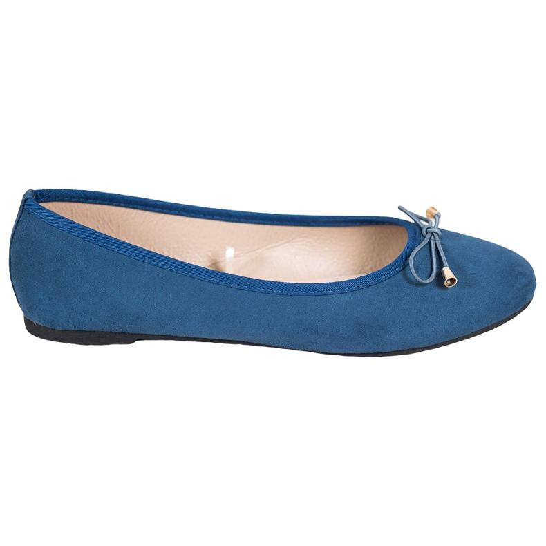 SHELOVET Casualowe Balerinki niebieskie