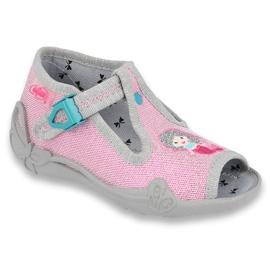 Befado obuwie dziecięce 213P116 różowe szare