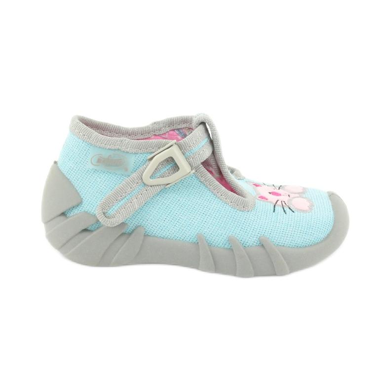 Befado obuwie dziecięce 110P375 niebieskie różowe szare