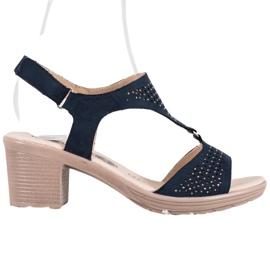 SHELOVET Komfortowe Sandały Na Rzep niebieskie