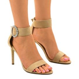 Beżowe sandały na szpilce z eko-zamszu 91761-3 beżowy