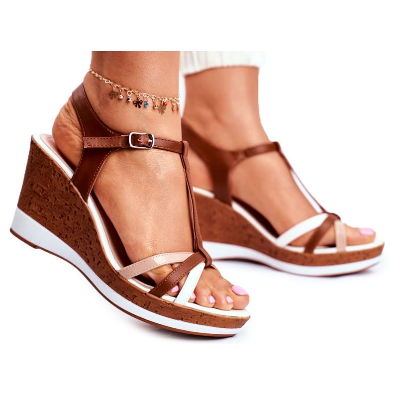 Sandały Damskie Na Koturnie Sergio Leone Brązowe SK308 białe