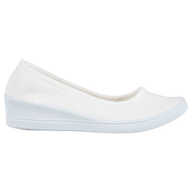 SHELOVET Białe Casualowe Baleriny