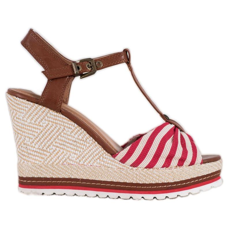 SHELOVET Sandały W Paski Na Koturnie brązowe czerwone