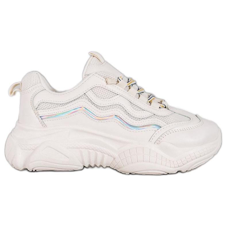 SHELOVET Sznurowane Sneakersy białe