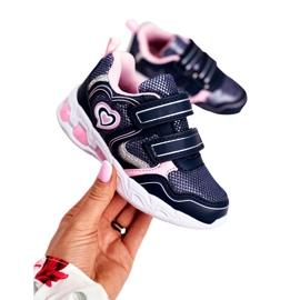 EVE Sportowe Buty Dziecięce Świecące Na Rzepy Granatowe Scarlet