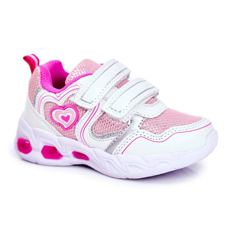 EVE Sportowe Buty Dziecięce Świecące Na Rzepy Białe Scarlet