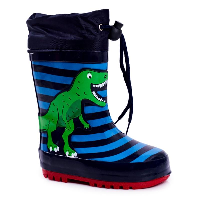 Apawwa Dziecięce Gumowe Kalosze Granatowe Dinozaur Mordeso niebieskie zielone