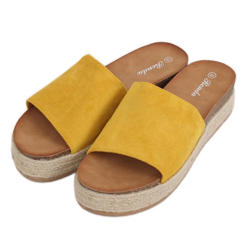 Klapki espadryle miodowe 10-215 Yellow żółte