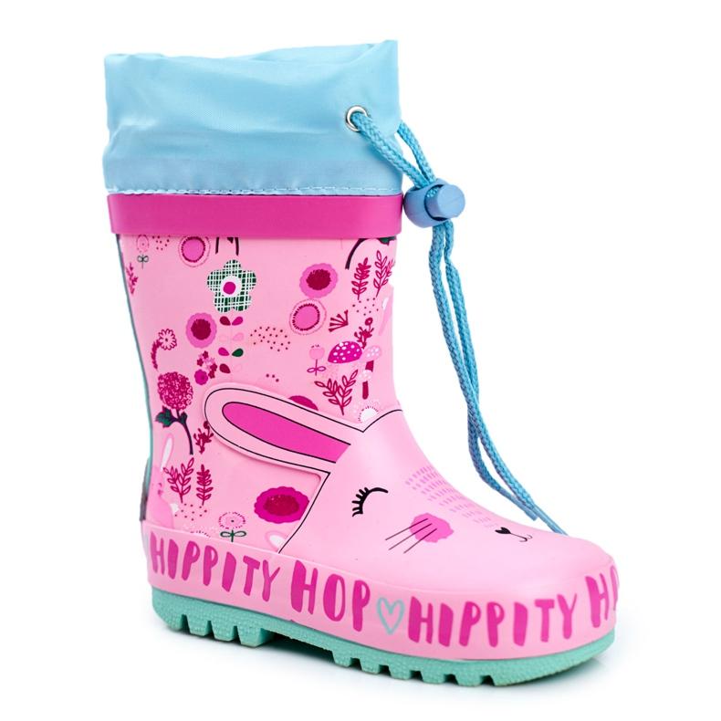 Bl&Ki Dziecięce Gumowe Kalosze Różowe Królik Hippity Hop