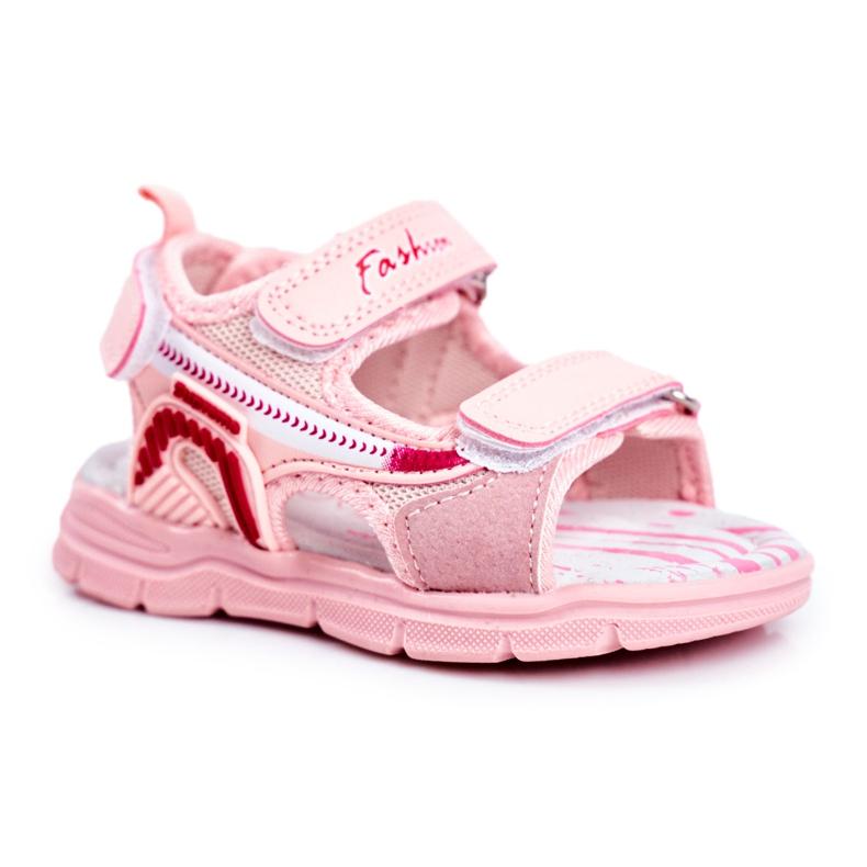 PL1 Sandały Dziecięce na Rzepy Różowe Grobino