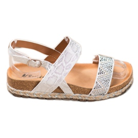 SHELOVET Modne Białe Sandały