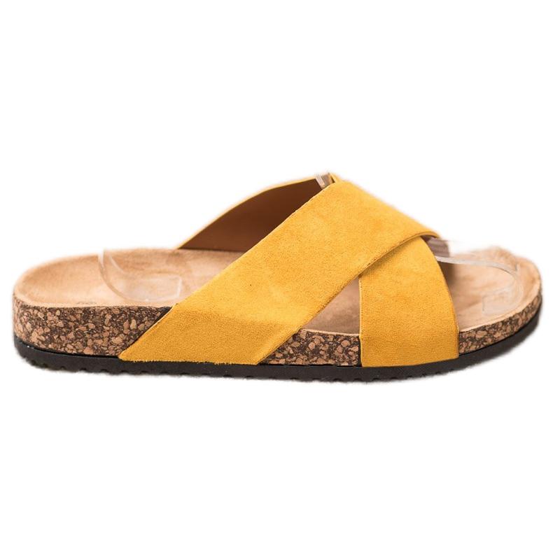 Nio Nio Casualowe Klapki Na Platformie żółte