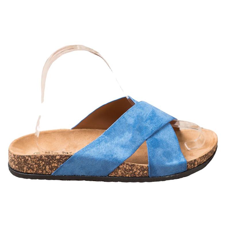 Nio Nio Casualowe Klapki Na Platformie niebieskie