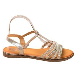 Mannika Eleganckie Sandały Z Kryształkami żółte