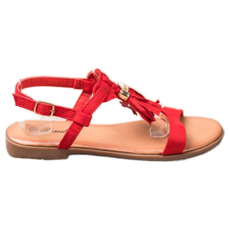 Renda Sandałki Z Frędzlami czerwone
