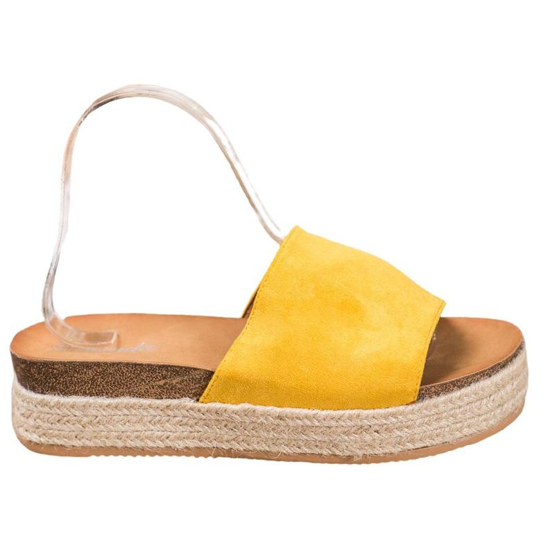 Renda Zamszowe Klapki Na Platformie żółte