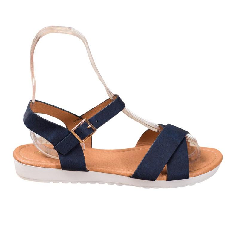 SHELOVET Wygodne Tekstylne Sandały niebieskie
